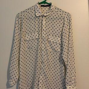 Zara white polka dot blouse